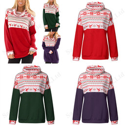 Wholesale christmas t shirts plus size online – design Plus Size Women Hoodie Pullover Blouse Christmas Long Sleeve Patchwork Tops Christmas Reindeer Snowflake Print Ladies T shirt XL XL A120503