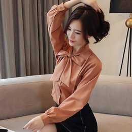 $enCountryForm.capitalKeyWord Australia - Spring 2019 New Korean Slim Lantern Sleeve chiffon Bow Long Sleeve Shirt womens tops blouses blusas femininas elegante 1890 50