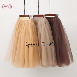 Satin layer Skirt online shopping - Streetwear Layers Pleated Skirt Cm Midi Women Gothic High Waist Tulle Skater Skirt Dames Ropa Mujer Jupe Femme