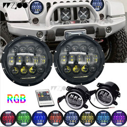 "Halo Lights Australia - 2019 new 7"" Round LED RGB Headlights + 4"" LED with Halo Fog Lights Front Bumper Lamp for 07-16 Jeep JK"