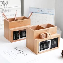 Wood Desk Storage Box Australia - Multi Function Pen Holder Calendar Desktop With Wood Storage Box Case 2 Grid Cosmetic Holder Desk Pen Pencil.