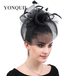 $enCountryForm.capitalKeyWord Australia - New design black charming headwear accessories wedding fascinator ladies hats derby women feather flower headpiece hair clips free shipping