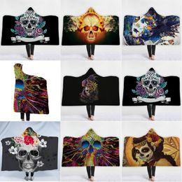 Flower beach towels online shopping - Winter Warm Hooded Cloaks Magic Flower Skull Printing Women Men Children Beach Towel Double Plush Thickened Hat Cloak Blanket jm2 hh