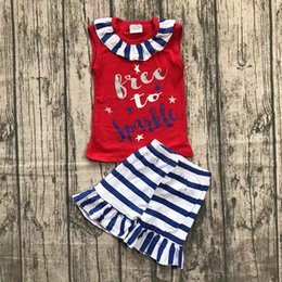 Red White Blue Tutus Australia - 4th of july summer girls red cotton tshirt & kids blue white striped ruffle shorts pants 2pc set 1-8years free ship