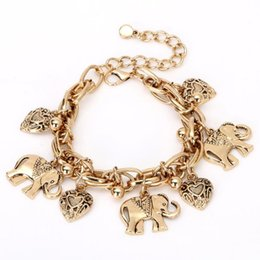 $enCountryForm.capitalKeyWord UK - Europe and the United States retro bracelet popular beach wind alloy carved elephant heart pendant anklet bracelet dual-use jewelry female