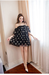 c927d98a54 Free Size 2019 Summer Korean Fashionable Sexy Star Breast-wrapped net yarn  Off-shoulder Fluffy Dress Short Skirt QC0142