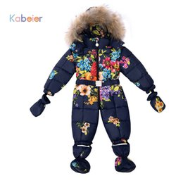 Infant Woolen Australia - Baby Boy Girl Clothing Snowsuit Rompers Winter Brand Infant Snow Clothing Rompers Cotton Padded Warmer Kid Overalls Outwear