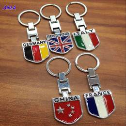 Wholesale Country Flag Metal Keychain China England Italy France Style Key holder Audi RS Silne Zinc Key Rings VW Golf R OPP Bag