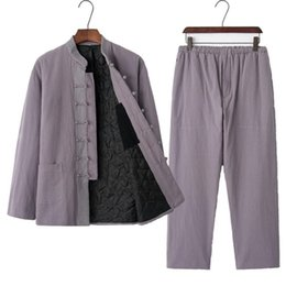 Boy Chinese Suit Australia - 2 piece suit ancient chinese costume art uniform clothes china boy suit cotton boy hanfu 2019 boy chinese clothing buddhist