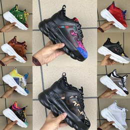 Suede chain online shopping - Mens Black Multi Color Rubber Suede Floral White Pink Luxury Designer Shoes Chain Reaction Womens Fashion Sport Trainers Casual Shoes