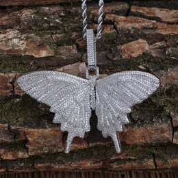 Wholesale Hip Hop Micro Cubic Zirconia Bling Ice Out Animal Butterfly Pendants Necklaces for Men Rapper Jewelry