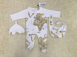 $enCountryForm.capitalKeyWord Australia - Map printing Baby boy jumpsuit 3pcs set Romper printing Baby Hat + bib jumpsuit Long Sleeve Romper Infant bodysuits