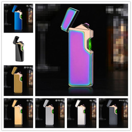Discount touch electronic lighter Newest Double Arc Sense Touch Lighter With Light USB Windproof Pulse Cigarette Rechargeable Electronic Lighters For Smoking Tools 8 color