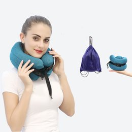 travel pillow memory foam Australia - U Shaped Memory Foam Neck Pillows Soft Slow Rebound Space Travel Pillow Solid Neck Cervical Healthcare Bedding with Gift Bag