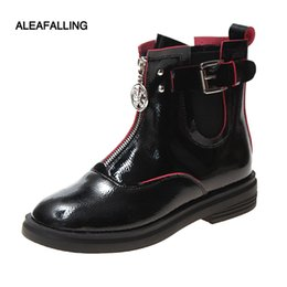 Simple ShoeS bootS online shopping - Aleafalling Classical Women Boots Lace Up Zip Buckle Cute Simple Smart Shoes Girl Soft Leather Spring Autumn Boots