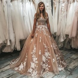 up skirt train images Australia - Champagne Off the Shoulder A Line Wedding Dresses Lace Appliques Lace Up Back Tulle Skirt Bridal Gown Tier Sweep Train robe de mairee