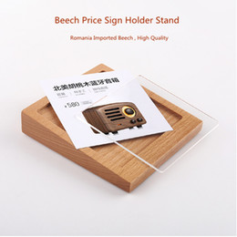 Wholesale 100 mm Wood Acrylic Advertising Tag Sign Card Display Stand Acrylic Table Desk Menu price Label Holder Stand