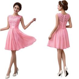 9d1edcdb24 Sin mangas hasta la rodilla vestido de fiesta de boda rosa blanco negro  encaje elegante vestido de fiesta formal Estilo de verano de gasa Vestidos