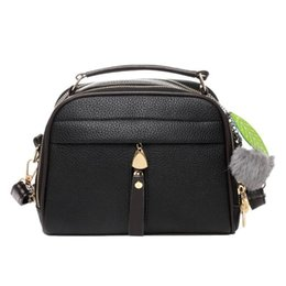 Highest Quality Hair UK - Double Zipper Sling Crossbody Bag For Women Hair Ball Messenger Shoulder Bag High Quality Pu Leather Bags