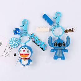 $enCountryForm.capitalKeyWord Australia - Cute Cartoon Doraemon Stitch Doll Keychain Fashion Anime Building Blocks Key Chain Women Girl Bag Charm Pendant Keyring Jewelry