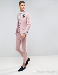 $enCountryForm.capitalKeyWord Australia - Tailor Made Pink Men Suits Slim Fit Groom Prom Party Blazer Costume Marriage Homme 3 Piece Male Tuxedo Jacket+Pants+Vest Ternos