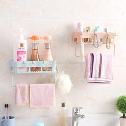 white hanging decoration Canada - Creative Bathroom Storage Shelf & Rack Waterproof Floating Shelf Home Decoration Kitchen Accessories Free Punching Wall Hanging