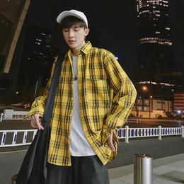 a77e3cc68859 red black checked shirt 2019 - Check shirt long sleeves ins Korean Spring  and Autumn Fashion