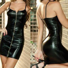 91bb0e385e 7 color New Sexy Faux PU Zipper Front Tights Leather Wet Look Mini Black  Straps Clubwear Bodycon Dress Plus Size