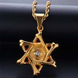 $enCountryForm.capitalKeyWord NZ - David Star Necklace Hip Hop Jewelry For Men 2019 New Fashion Stainless Steel Jewellery Ice Out Gold Plated Hiphop Eye Pendant Necklace