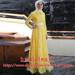 c1950ecb59 ArAbic gowns dubAi online shopping - Islamic Dubai Yellow Lace Muslim  Evening Dresses Elegant Long Sleeves
