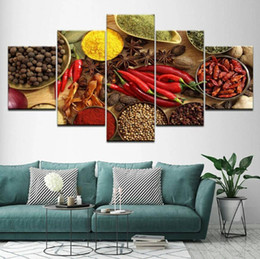 $enCountryForm.capitalKeyWord Australia - Canvas Poster Home Decor HD Prints 5 Pieces Modular Wall Art Grains Spices Seasoning Paintings Kitchen Food Pictures