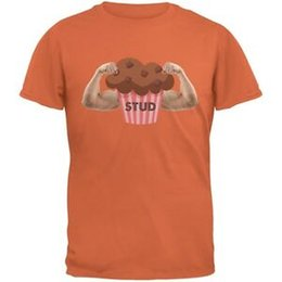 orange studs Australia - Stud Muffin Double Bicep Orange Adult T Shirt