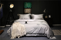Queen size grey bedding online shopping - Silver grey purple Luxury Egyptian cotton bedding set queen king size duvet cover bedsheet set oriental embroidery beddingset