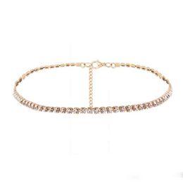 $enCountryForm.capitalKeyWord UK - New Silver Gold Color Shining One Row Zircon Choker Necklaces For Women Fashion Rhinestone Collar Necklace Wedding Jewelry