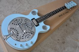 Guitars factory online shopping - Factory Custom Light Blue Electric Guitar with resonant cavity Metal cover White Binding body Chrome Hardware
