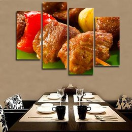 Unframed Art Prints Australia - 4pcs set Unframed Delicious American Barbecue HD Food Print On Canvas Wall Art Picture For Home and Living Room Decor