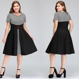 Wholesale misshow resale online - In Stock MisShow Vestidos Women Summer Fake two Pieces Striped Vintage Dress Swing Rockabilly Patchwork Cotton plus size Dresses FS1394