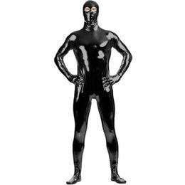 $enCountryForm.capitalKeyWord Australia - Adult Eyes Open Black Zentai Black Shiny Metallic Catsuit Costume Lycra Spandex Zentai Unique Full Body Suit