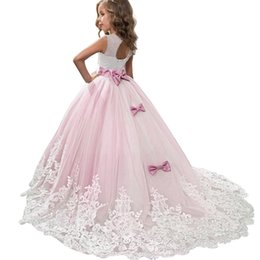 dress girls pink long wedding Australia - New Carnival Costumes Flower Bridesmaid Party Wedding For Girls Kids Long Clothing Princess Dress Elegant Q190604