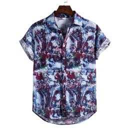 Wholesale men hawaii shirt for sale - Group buy National Style Men Linen Floral Print Short Sleeve Shirt Summer Hawaii Holiday Loose Casual Stand Shirts Top