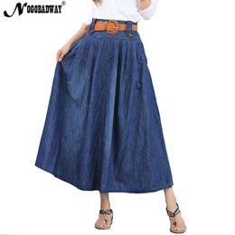 dc6eca4076 S - 6XL plus size denim long skirt women high waist jeans skirt summer maxi  skirts pleated casual vintage bottom saia pocket