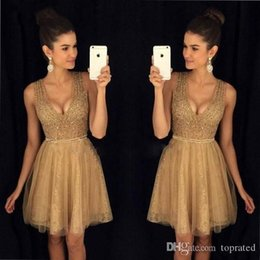 gold charm sexy girl Australia - 2020 Charming Gold Homecoming Dresses Scoop Crystal Beads A Line Mini Cocktail Dresses Girl Pageant Party Gowns