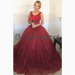 Cheap Triangle Tops NZ - Burgundy Puffy Tulle Prom Dresses Scoop Neckline Top Lace Quinceanera Dresses Button Back Classy Engagement Dresses Evening Wear 2019 Cheap