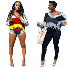 long sleeve club tops 2019 - Women fall winter t-shirt sweater sexy club knitwear gym v-neck crop top long sleeve outwear pullover ripped panelled te