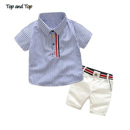 $enCountryForm.capitalKeyWord Australia - Top And Top Summer Fashion Kids Boy Gentleman Clothes Set Short Sleeve Striped Shirt+white Pants Formal Set Shorts Set J190717