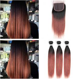 Red Copper Hair Australia - Copper Red Ombre Peruvian Human Hair 3Bundles with Closure Straight #1B 33 Dark Auburn Human Hair Weave Bundles with Lace Front Closure 4x4