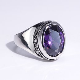 women flower ring Australia - Real 925 Sterling Silver Rings For Women With Zircon Stone Amethyst Ruby Garnet Vintage Thai Silver Flower Engraved Jewelry SH190930