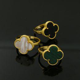 Korean couples blacK white online shopping - Classic Four Leaf Clover Rings for women Yellow Gold silver black White love Ring Flower Flora Korean Jewelry Woman