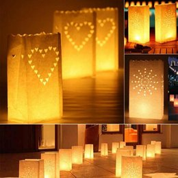 heart decoration candle UK - 5 styles Wedding Heart Tea Light Holder Happy Birsthday Paper Lantern Candle Bag Home Romantic Wedding Party Decoration Supplies