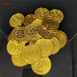 wholesale casino chips Australia - 50 100pcs pack new Gold Coins poker casino chips model gold plating Plastic Pirate Toy coins Game currency 6z